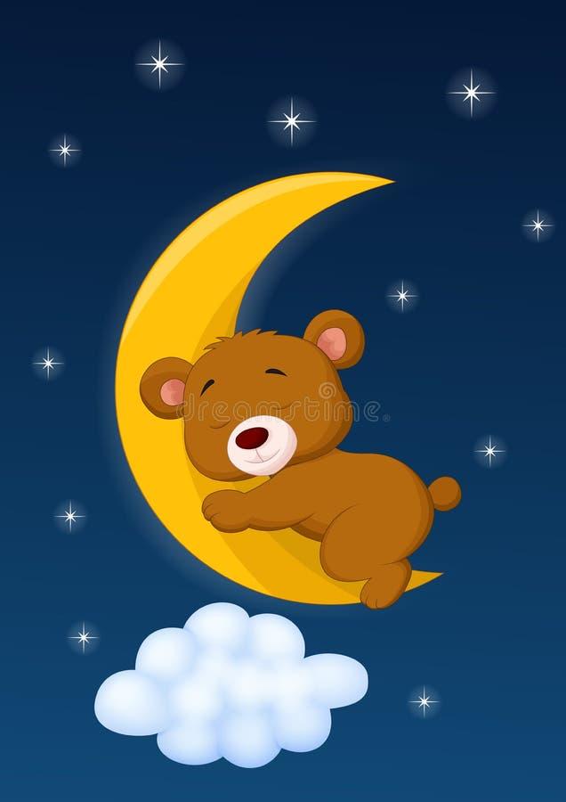 Orso del bambino che dorme sulla luna royalty illustrazione gratis