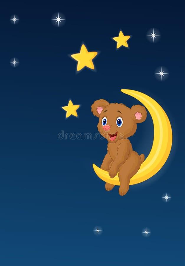 Orso del bambino che si siede sulla luna illustrazione di stock