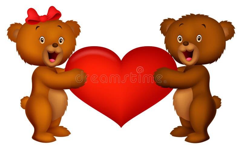 Orso del bambino delle coppie che tiene cuore rosso illustrazione vettoriale