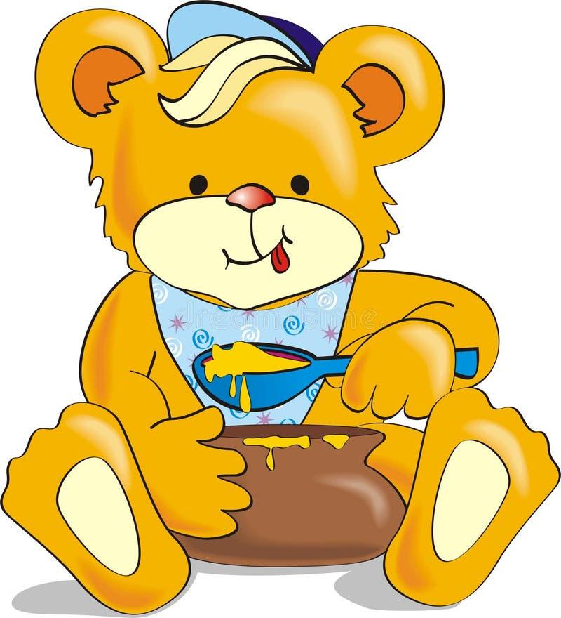 Orso del fumetto che mangia miele con appetito illustrazione vettoriale