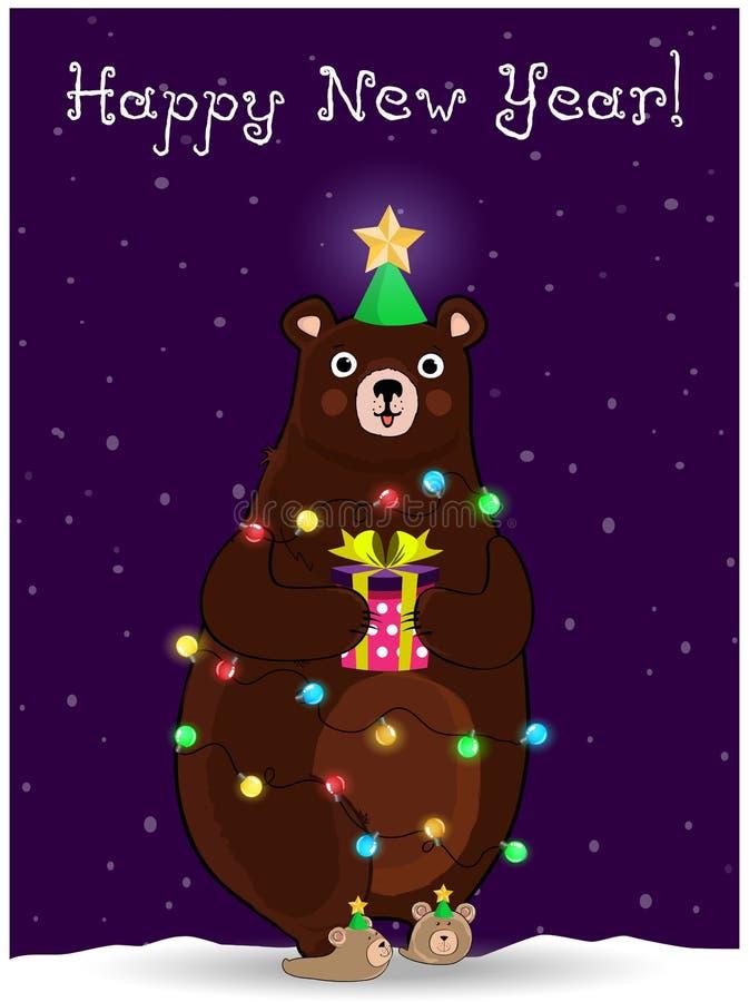 Orso del nuovo anno nel giro del vento del cappello dell'albero di abete con la ghirlanda sul fondo nevoso di notte illustrazione di stock