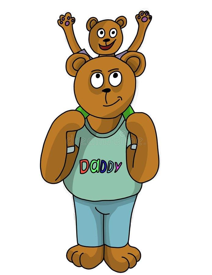 Orso del papà ed suo figlio illustrazione vettoriale