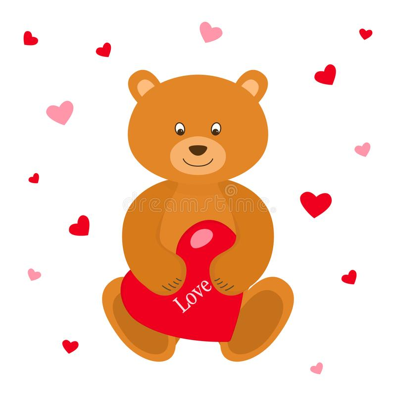 Orso dell'orsacchiotto con cuore rosso Cartolina d'auguri Rosa rossa Illustrazione di vettore illustrazione vettoriale