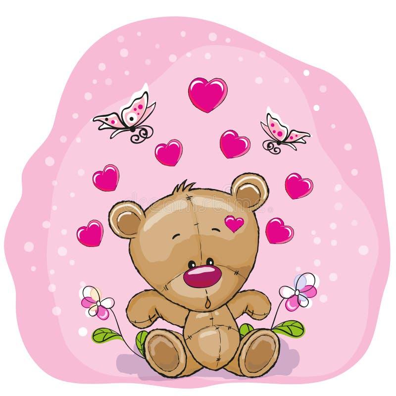 Orso dell'orsacchiotto con i fiori illustrazione vettoriale