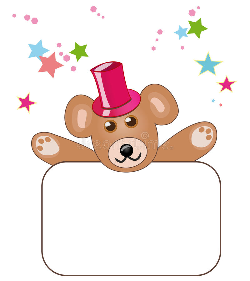Orso dell'orsacchiotto con il segno in bianco royalty illustrazione gratis