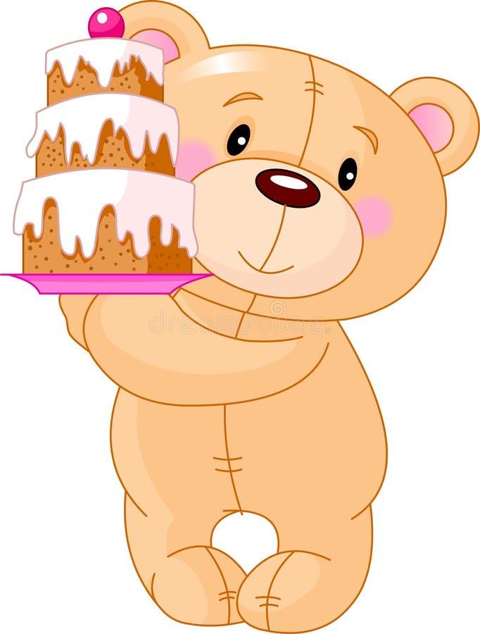 Orso dell'orsacchiotto con la torta illustrazione vettoriale