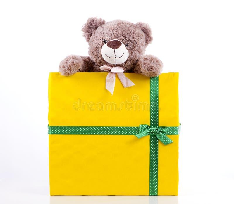 Orso dell'orsacchiotto in contenitore di regalo immagini stock libere da diritti