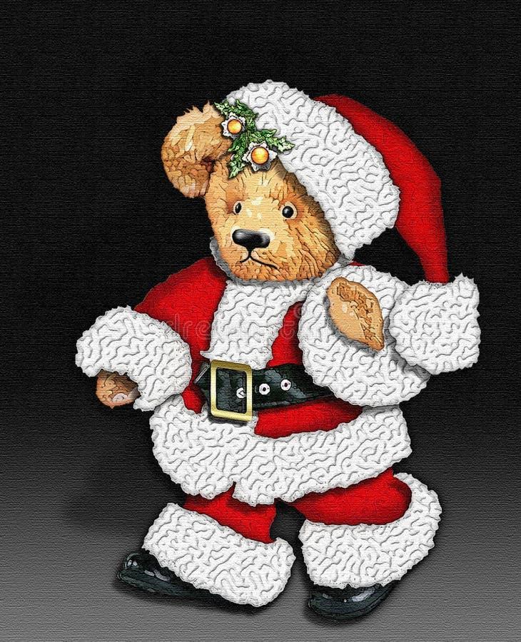Orso dell'orsacchiotto dell'annata come Santa illustrazione vettoriale