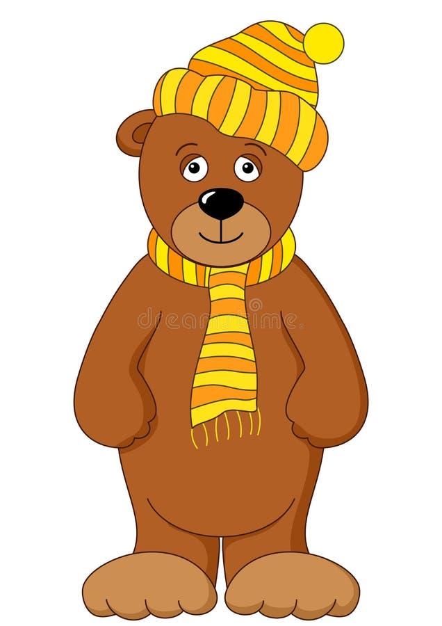 Orso dell'orsacchiotto in protezione e sciarpa illustrazione di stock