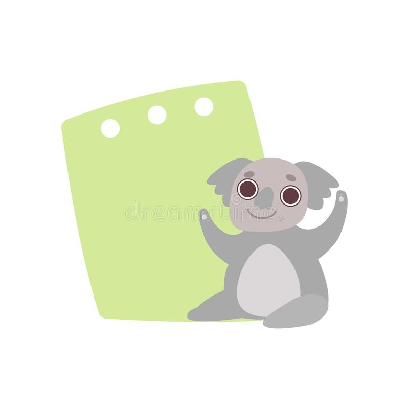 Orso di Coala che tiene insegna vuota verde, animale sveglio della giungla del fumetto con l'illustrazione in bianco di vettore d illustrazione di stock