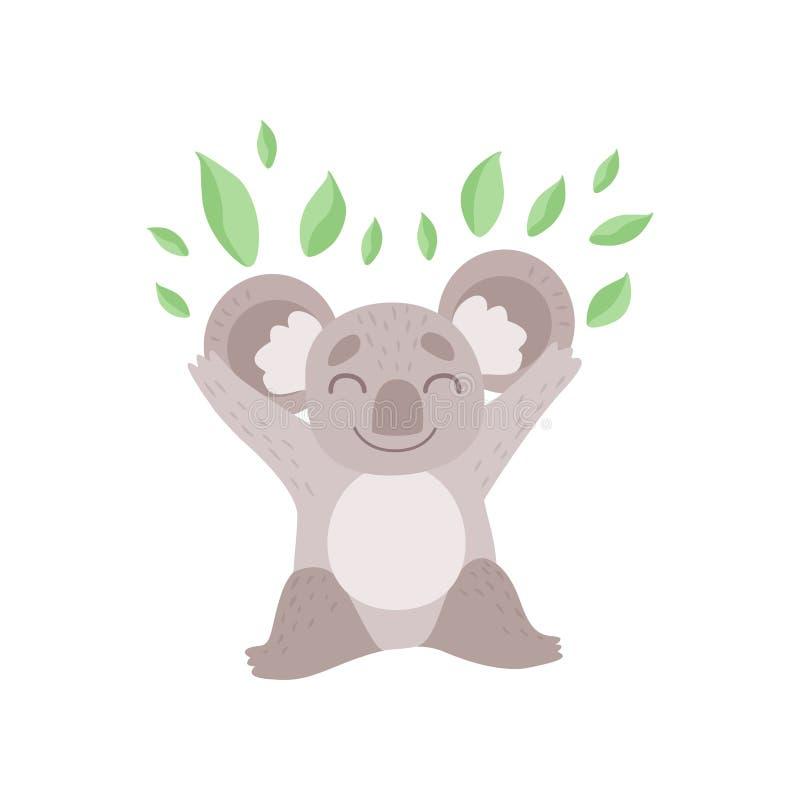 Orso di koala sveglio che gioca con le foglie dell'eucalyptus, Grey Animal Character Vector Illustration divertente illustrazione di stock