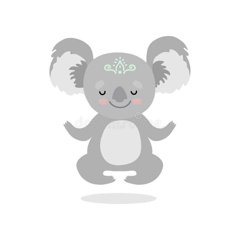 Orso di koala sveglio che medita, illustrazione dolce di Grey Humanized Animal Character Vector royalty illustrazione gratis