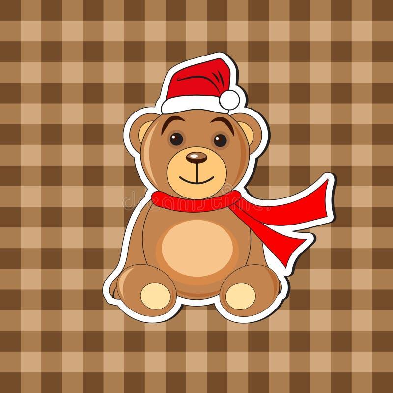 Orso di Natale in un cappuccio di Santa Claus illustrazione di stock