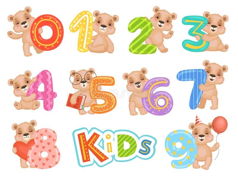 Orso di numeri di compleanno Faccia festa l'invito di divertimento per le mascotte del fumetto di vettore dei caratteri dell'orsa illustrazione vettoriale