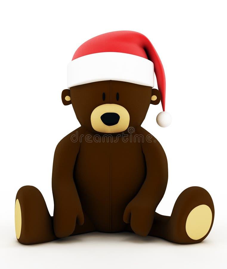 Orso di orsacchiotto di natale con un cappello del Babbo Natale. illustrazione vettoriale