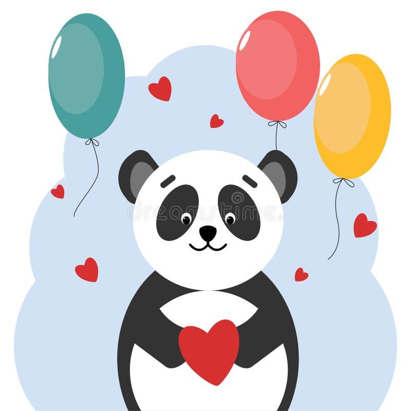 Orso di panda della cartolina con i palloni a forma di del cuore Disegno di vettore royalty illustrazione gratis