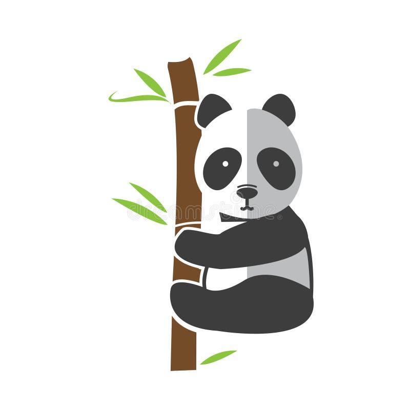 Orso di panda divertente che scala sul gambo di bambù, illustrazione di vettore royalty illustrazione gratis