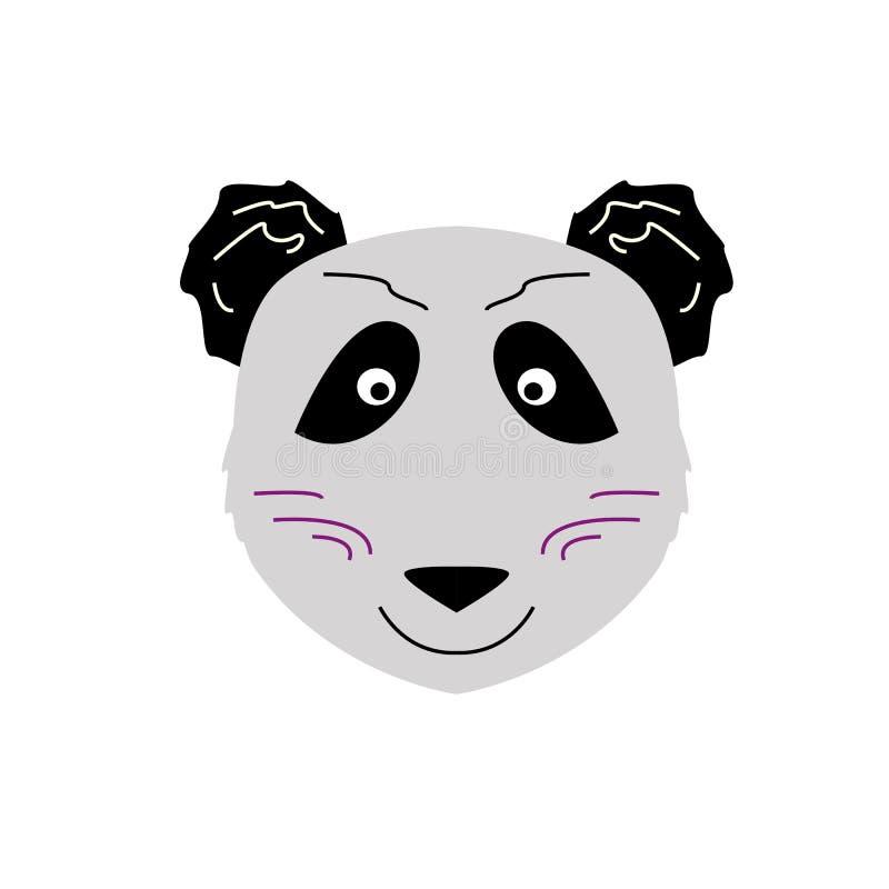 Orso di panda felice/nero, jpg grigio illustrazione vettoriale