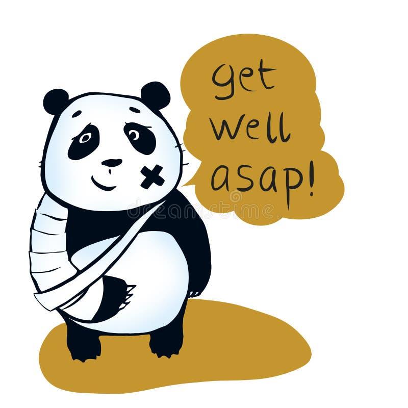 Orso di panda malato illustrazione di stock