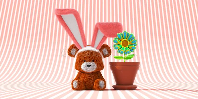 Orso di Pasqua con Bunny Ears ed il fiore psichedelico illustrazione di stock