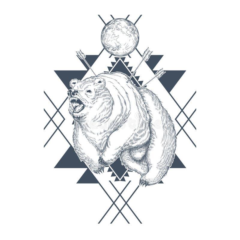 Orso disegnato a mano di vettore ferito dalle frecce illustrazione di stock
