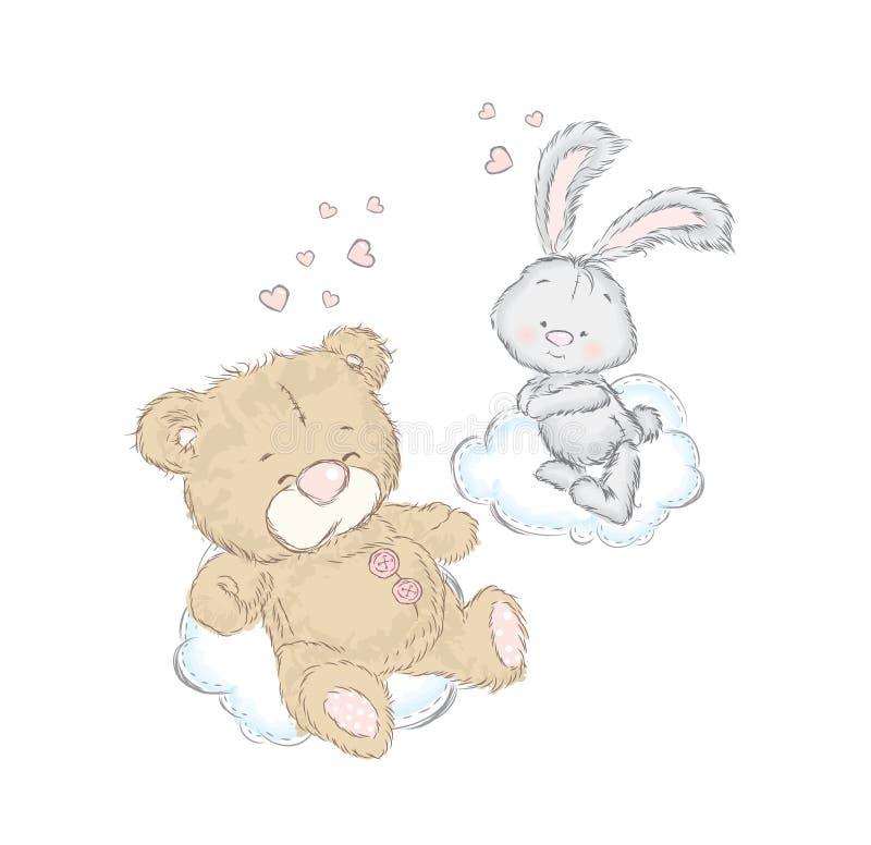 Orso e coniglietto su una nuvola Cartolina con gli animali svegli del bambino St Giorno del biglietto di S Amore illustrazione di stock