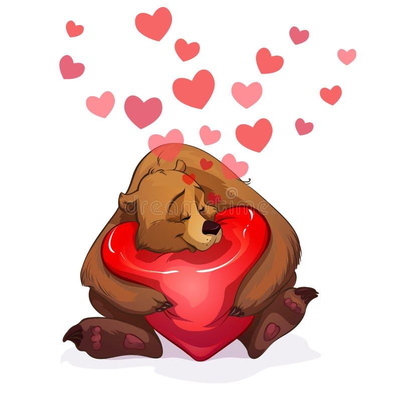 Orso e cuore illustrazione vettoriale