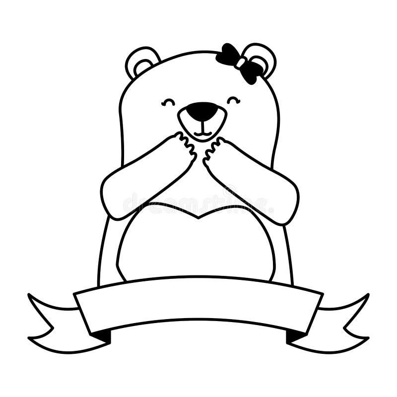Orso e nastro svegli illustrazione di stock