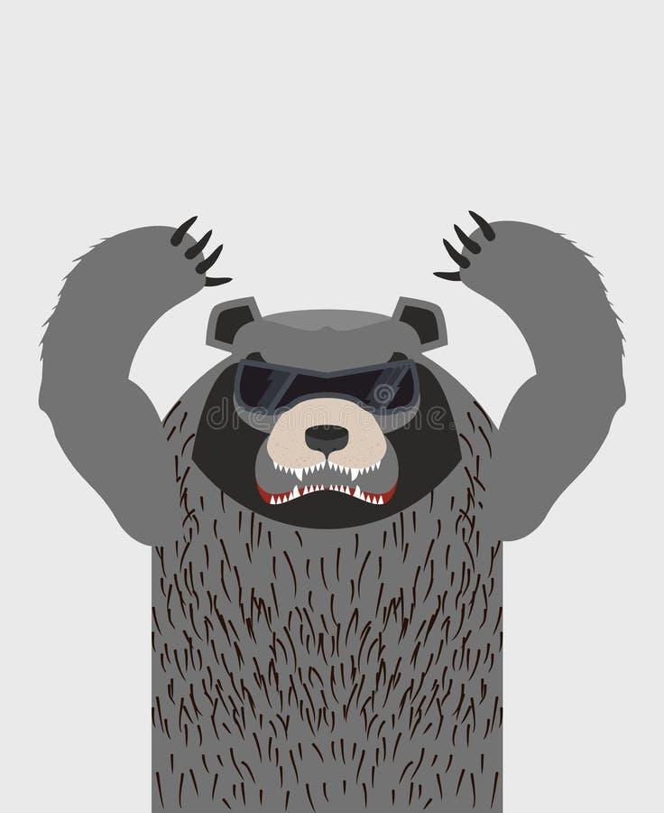 Orso grigio arrabbiato con i vetri Illustrazione di vettore illustrazione di stock