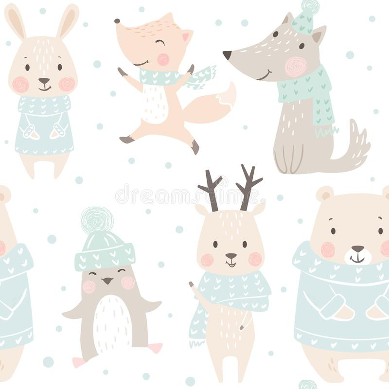 Orso, lupo, renna, lepre, volpe, modello senza cuciture di inverno del bambino del pinguino Fondo animale sveglio di Natale illustrazione di stock