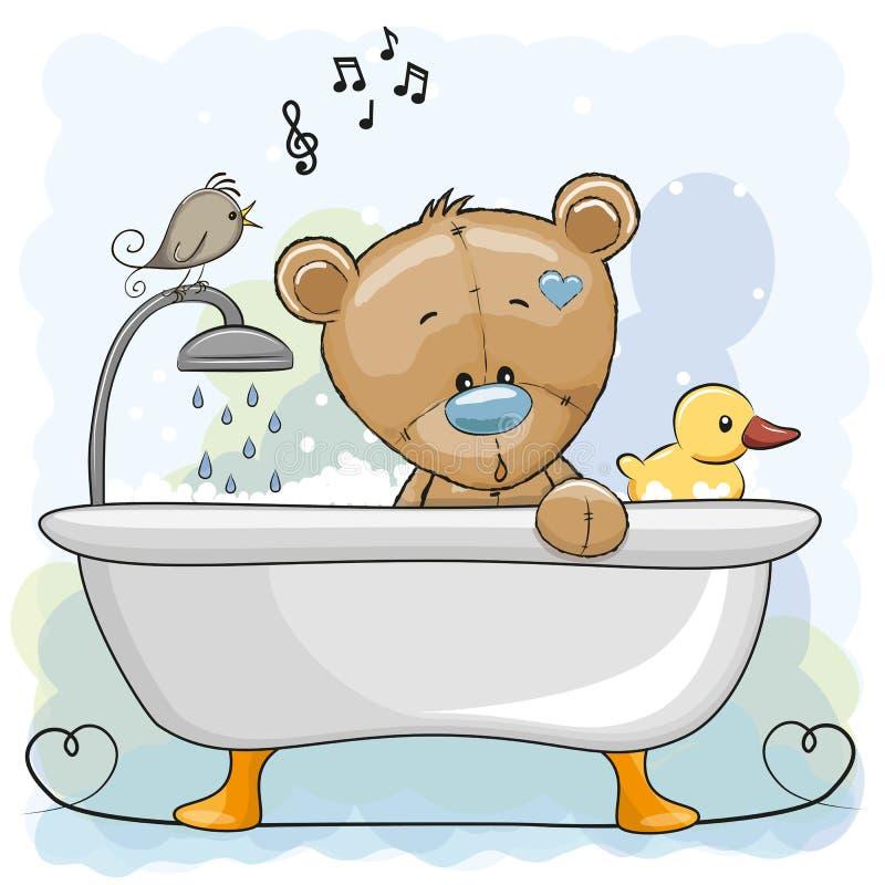Orso nel bagno royalty illustrazione gratis