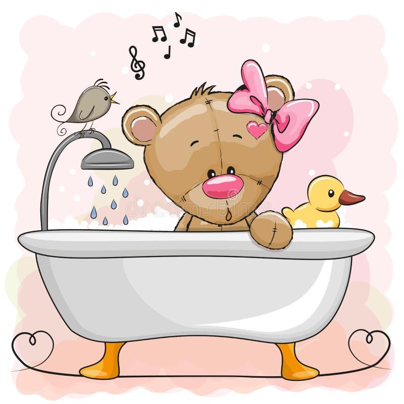 Orso nel bagno illustrazione vettoriale