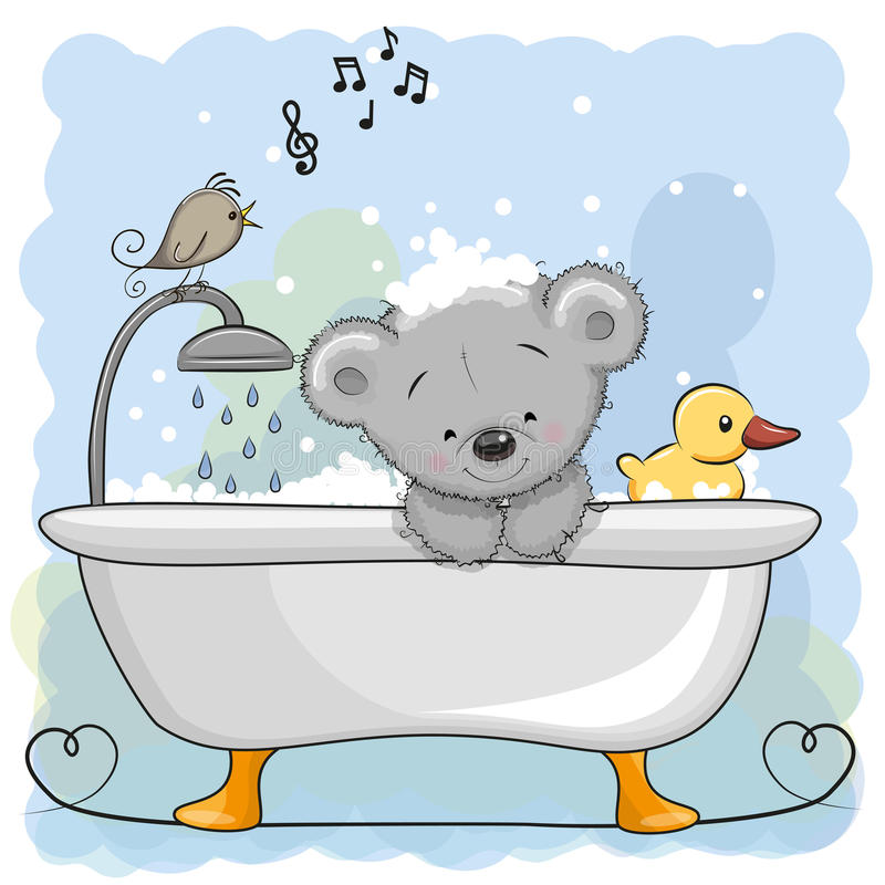 Orso nel bagno illustrazione di stock