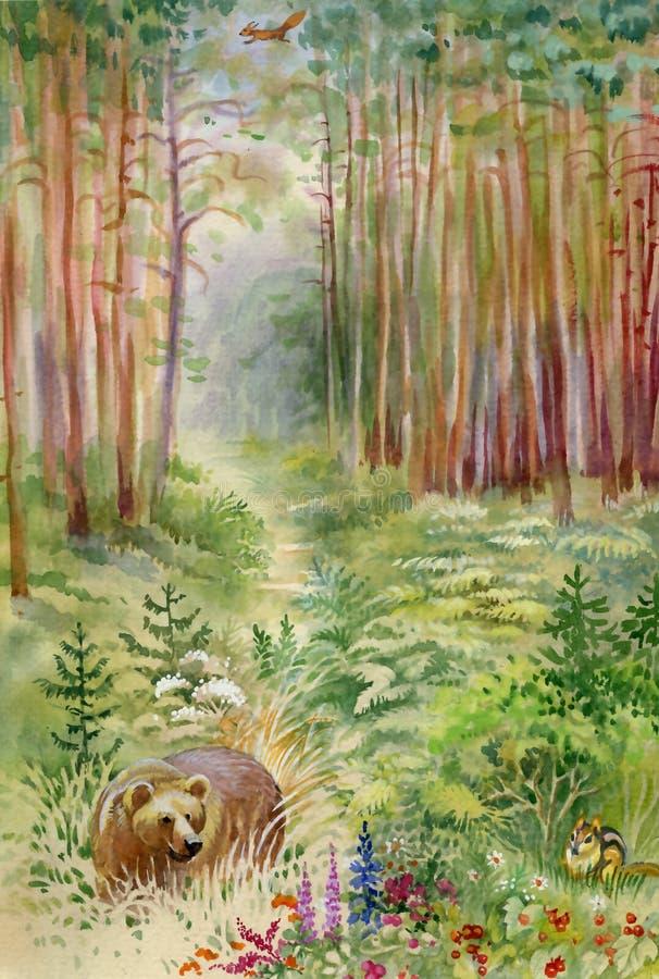 Orso nel legno illustrazione vettoriale