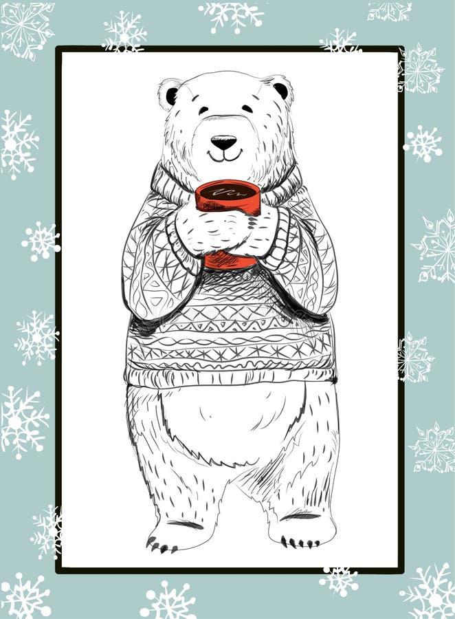 orso polare con la tazza ed i fiocchi di neve rossi su fondo blu Concetto di Natale royalty illustrazione gratis