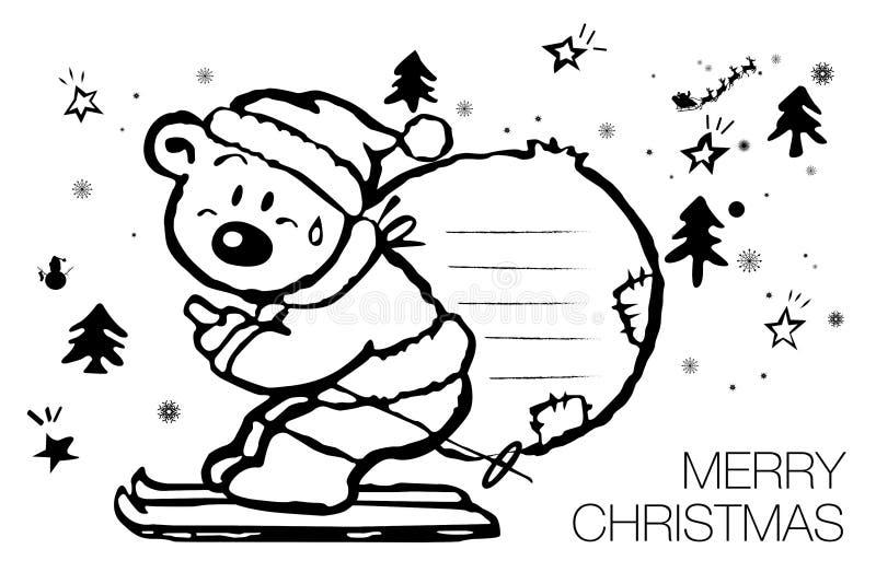 Orso polare del fumetto in un carattere di Natale del cappello di Santa Claus royalty illustrazione gratis