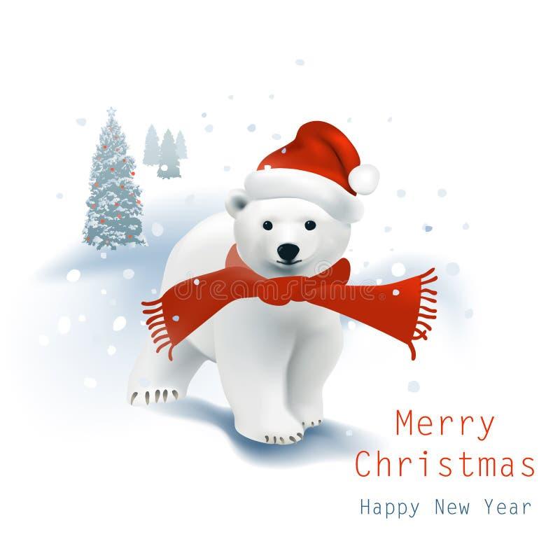 Orso polare Santa illustrazione vettoriale