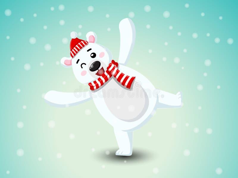 Orso polare sveglio con la sciarpa rossa ed il cappello rosso Buon Natale e buon anno elemento decorativo in vacanza Vettore illustrazione di stock