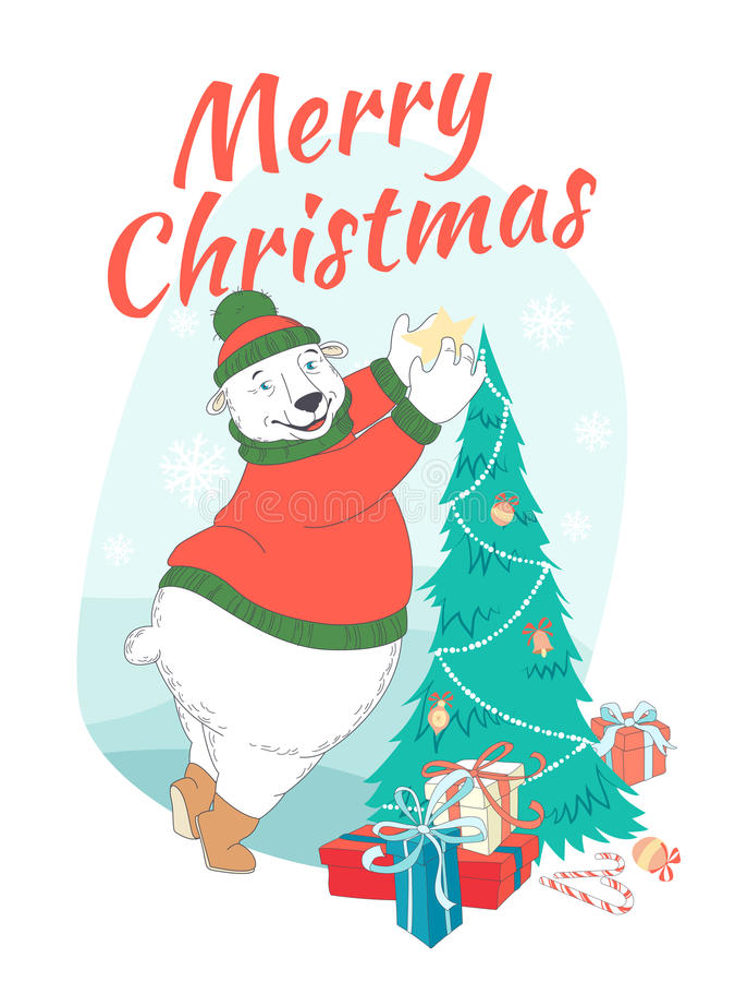 Orso polare sveglio della cartolina d'auguri di Buon Natale che indossa l'interruttore tricottato illustrazione di stock