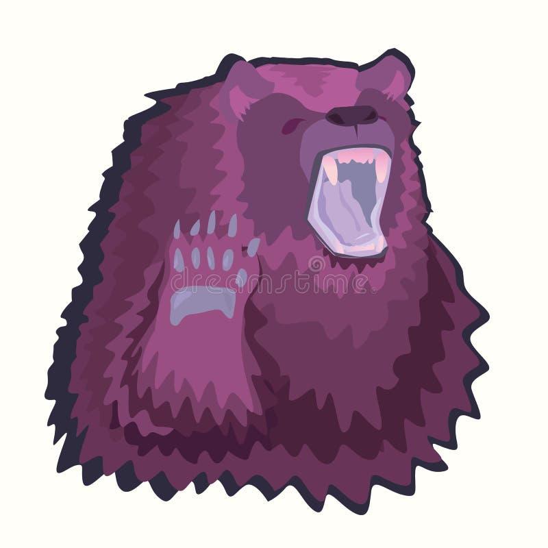 Orso porpora dell'autoadesivo Immagine di un carattere dell'orso illustrazione vettoriale