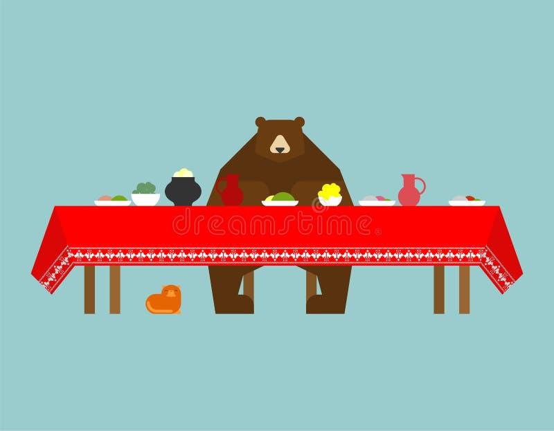 Orso russo e cucina Alimento piega tradizionale in Russia Potat illustrazione di stock