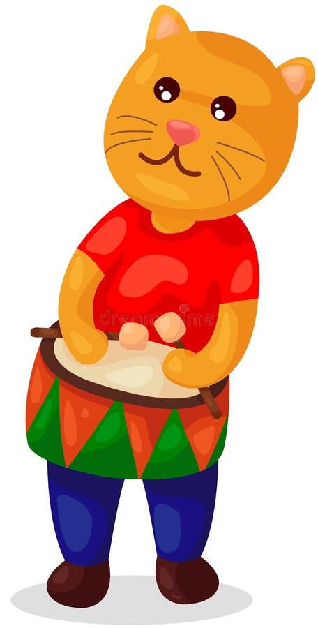 Orso sveglio che gioca tamburo illustrazione vettoriale
