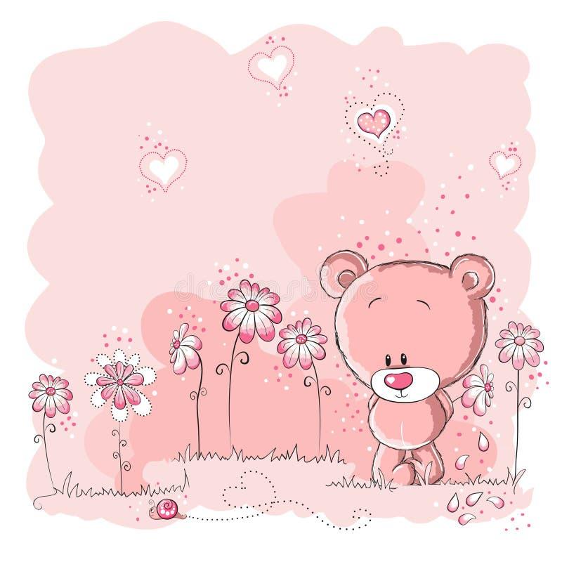 Orso sveglio che tiene un fiore illustrazione vettoriale
