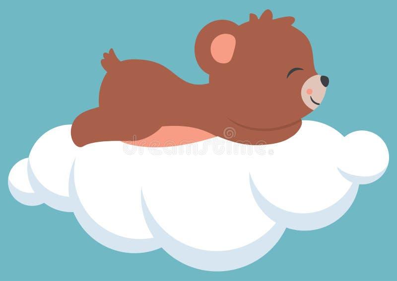 Orso sveglio del bambino che dorme su una doccia di bambino della nuvola illustrazione vettoriale