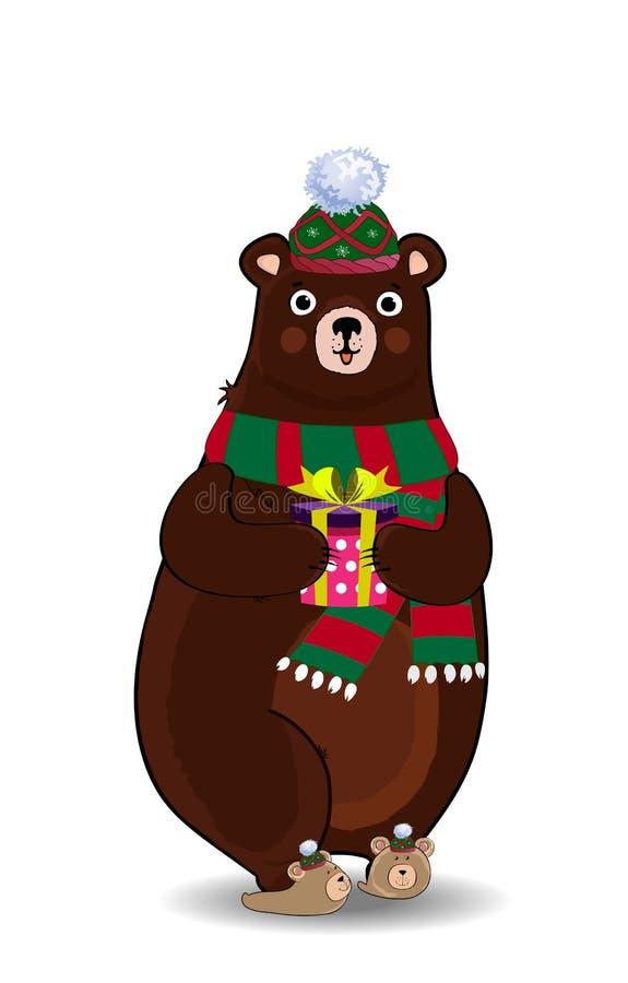 Orso sveglio del fumetto in contenitore di regalo verde tricottato della tenuta della sciarpa e del cappello isolato su fondo bia illustrazione di stock