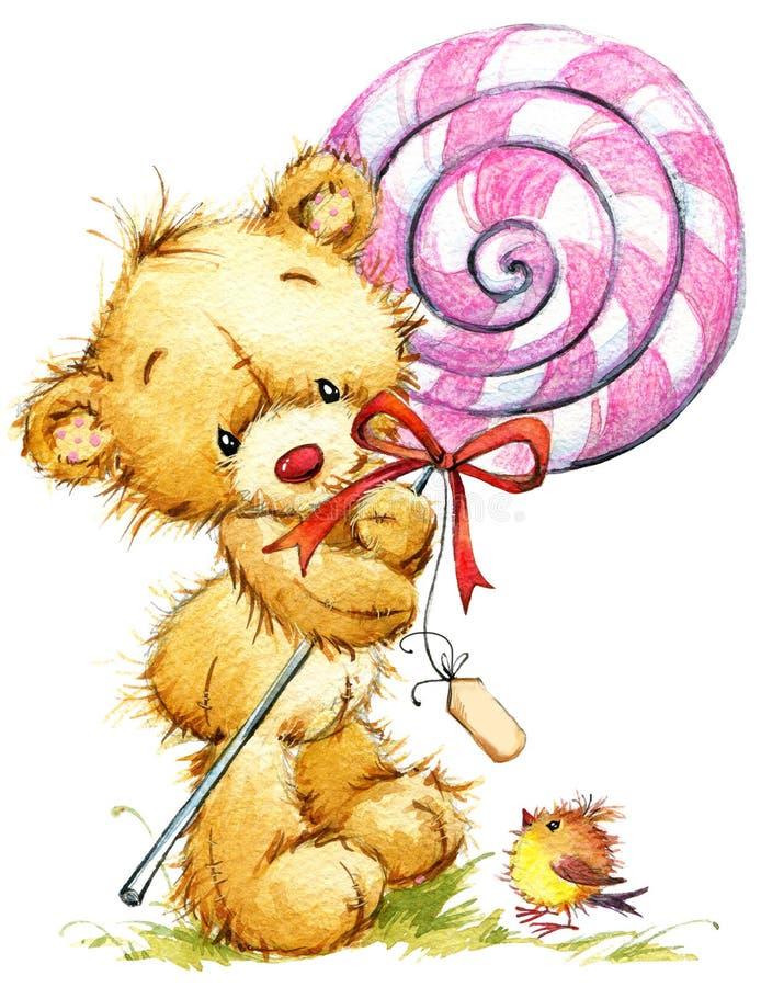 Orso sveglio dell'orsacchiotto illustrazione dell'acquerello della cartolina d'auguri di compleanno royalty illustrazione gratis