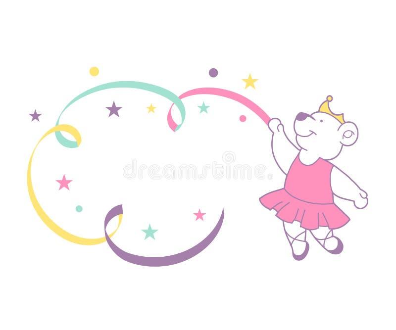 Orso sveglio della ballerina royalty illustrazione gratis