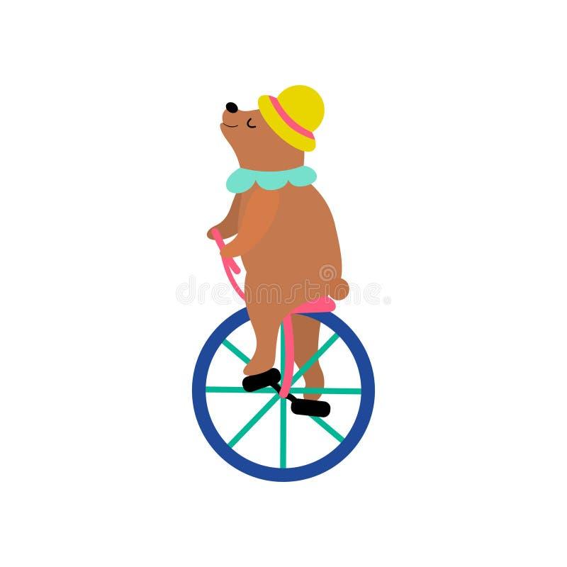 Orso sveglio in monociclo di guida del cappello, esecuzione animale divertente nell'illustrazione di vettore di manifestazione de illustrazione vettoriale