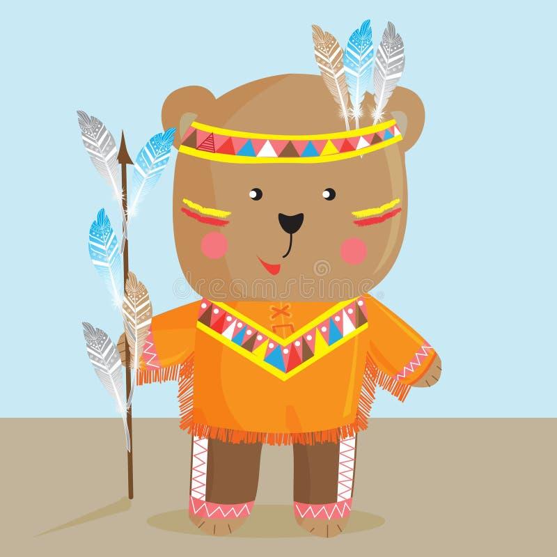 Orso sveglio nel modo dell'indiano nordamericano Vettore royalty illustrazione gratis