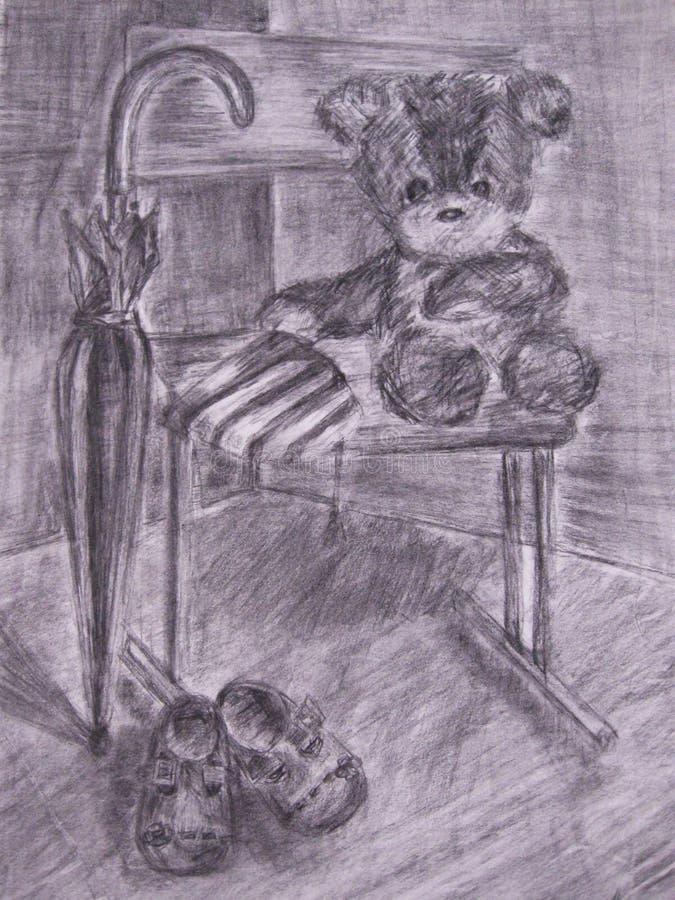 Orso triste del giocattolo dell'orsacchiotto royalty illustrazione gratis